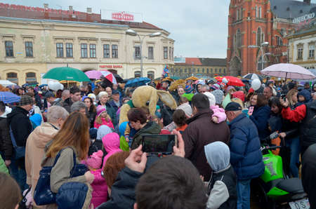 was: Osijek, Croatia. 26 Mar 2016. Traditionally Motorcycle Club Osijek organized action of giving gifts to children under the name Moto Bunny which was held on Ante Starcevic Square.