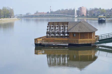 watermill: Water mill on the river Drava in Osijek,Croatia Editorial