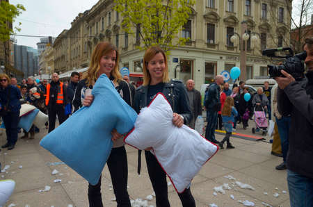 practitioners: Zagreb,Croatia. 02 Apr 2016. International Pillow Fight Day at Petar Preradovic square. Event came to support Olympic taekwondo practitioners Ana and Lucija Zaninovic. Editorial