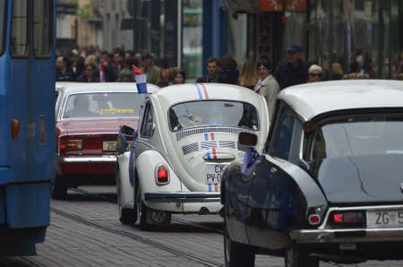 on occasion: Zagreb, Croatia.09 Apr 2016. Classic Cars Gathering at Ban Josip Jelacic square on the occasion of Zagreb Auto Show.