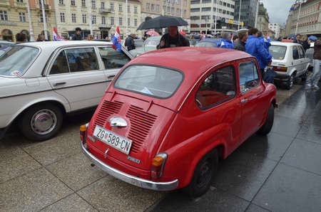 on occasion: Zagreb, Croatia.09 Apr 2016. Classic Cars Gathering at Ban Josip Jelacic square on the occasion of Zagreb Auto Show Editorial