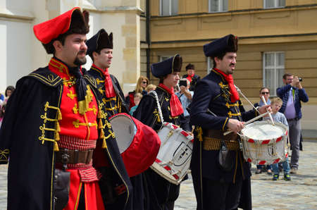 st  mark's square: agreb, Croatia. 23 Apr 2016. Honorary Cravat Regiment demonstrates changing of the guard at St. Marks Square.
