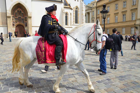regiment: agreb, Croatia. 23 Apr 2016. Honorary Cravat Regiment demonstrates changing of the guard at St. Marks Square.