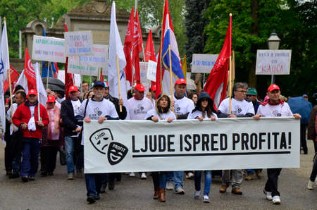 profit celebration: Zagreb,Croatia. 01.May.2016. Trade union parade under the slogan People before profits go to Maksimir Park to celebrate the May Day.
