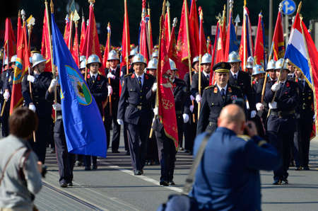 was: Zagreb,Croatia. 07 May 2016. Croatian Fire Services Association celebrates 140th anniversary. They organized a big parade parade through the city center and Fire drill which was held at Ban Josip Jelacic square. Editorial