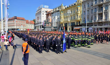 rehearse: Zagreb,Croatia. 07 May 2016. Croatian Fire Services Association celebrates 140th anniversary. They organized a big parade parade through the city center and Fire drill which was held at Ban Josip Jelacic square. Editorial