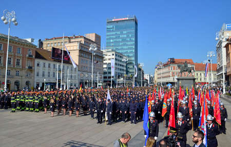 they: Zagreb,Croatia. 07 May 2016. Croatian Fire Services Association celebrates 140th anniversary. They organized a big parade parade through the city center and Fire drill which was held at Ban Josip Jelacic square. Editorial
