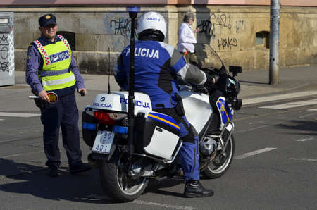 motorcycle officer: police officer in Zagreb,Croatia