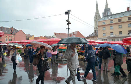 14: Zagreb,Croatia. 14 May 2016. Rainy day in the city