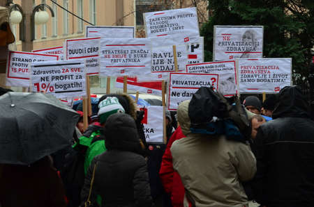was: Zagreb,Croatia. 24th January 2015. Protest against privatization of the Institute of Immunology Zagreb. The protest was organized Workers front at flower square (Petar Preradović Square)