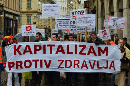 privatization: Zagreb,Croatia. 24th January 2015. Protest against privatization of the Institute of Immunology Zagreb. The protest was organized Workers front at flower square (Petar Preradović Square)