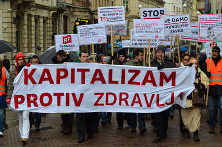 immunology: Zagreb,Croatia. 24th January 2015. Protest against privatization of the Institute of Immunology Zagreb. The protest was organized Workers front at flower square (Petar Preradović Square)