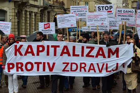 privatization: Zagreb,Croatia. 24th January 2015. Protest against privatization of the Institute of Immunology Zagreb. The protest was organized Workers front at flower square (Petar Preradović Square).
