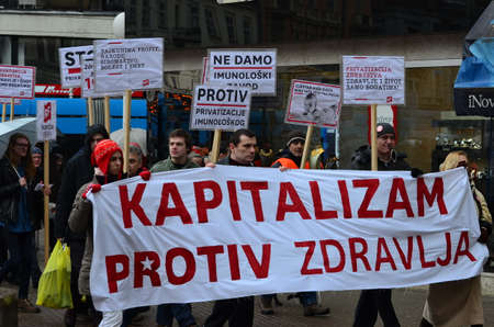 immunology: Zagreb,Croatia. 24th January 2015. Protest against privatization of the Institute of Immunology Zagreb. The protest was organized Workers front at flower square (Petar Preradović Square).