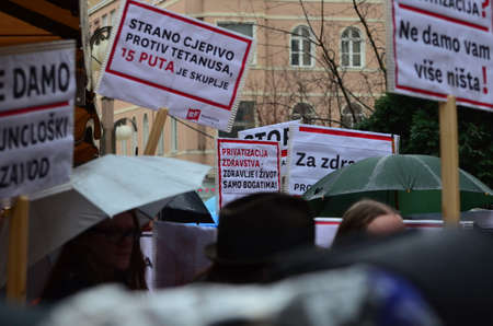 privatization: Zagreb,Croatia. 24th January 2015. Protest against privatization of the Institute of Immunology Zagreb. The protest was organized Workers front at flower square (Petar Preradovi�� Square).