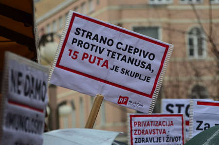 privatization: Zagreb,Croatia. 24th January 2015. Protest against privatization of the Institute of Immunology Zagreb. The protest was organized Workers front at flower square (Petar Preradovi��� Square).