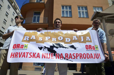 was: Zagreb, Croatia.04 Jun 2016.Protest Croatia is not for sale at Ban Josip Jelacic square. The protest was organized by the Political Party Free Croatia and ORaH