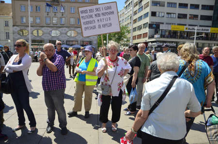 political party: Zagreb, Croatia.04 Jun 2016.Protest Croatia is not for sale at Ban Josip Jelacic square. The protest was organized by the Political Party Free Croatia and ORaH