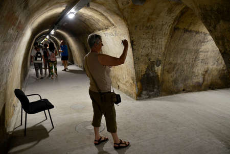 9th: Zagreb, Croatia. 9th July, 2016. The newly renovated tunnel Gric which existed since 1945th opens to the public a few days ago. 350 meters long and connect Mesnicka and Radiceva street in city center.