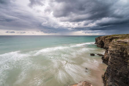 The storm arrives at the famous beach of the Cathedrals, Galicia