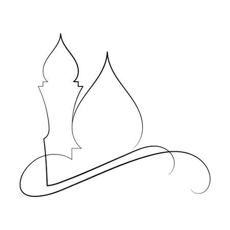 Vector Illustration of Islamic Mosque Line Art Drawing. Good for Greeting Card, Cover, Poster, Banner, Invitation, and others. Vektoros illusztráció
