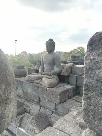 a variety of uniqueness in the Borobudur temple in Magelang, Central Java, Indonesia Stockfoto - 128572083