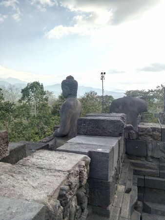a variety of uniqueness in the Borobudur temple in Magelang, Central Java, Indonesia Banco de Imagens