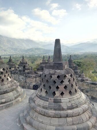 a variety of uniqueness in the Borobudur temple in Magelang, Central Java, Indonesia Stockfoto - 128572093