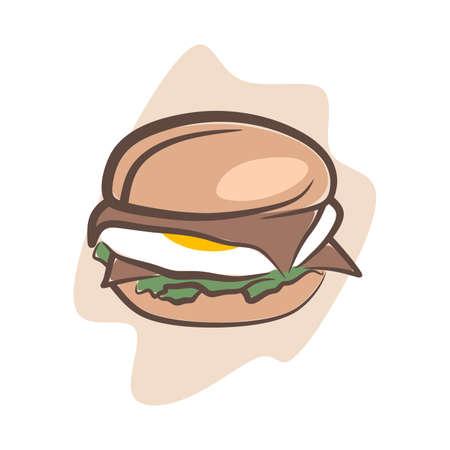 illustration of fast food tempting eyes, hamburger Ilustração