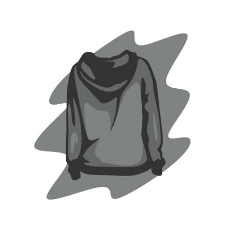 illustration of a gray sweater from behind
