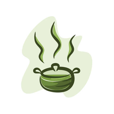 Illustration of hot green tea in a hot pot Ilustração
