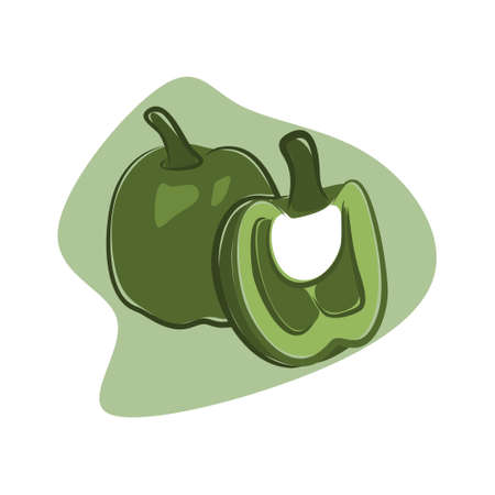 interesting and cool green pepper illustration