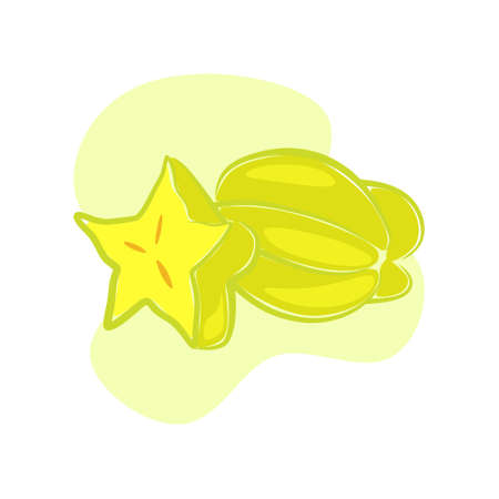 illustration of a star fruit that sparkles refreshing