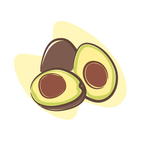 illustration of an avocado that looks filling