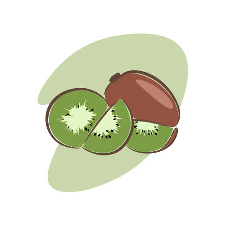 illustration of kiwifruit that looks sweet and delicious