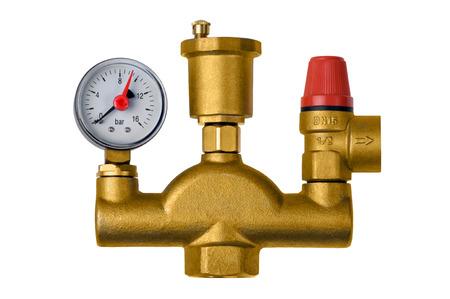 Faucet fitting safety valve boiler pressure measurement