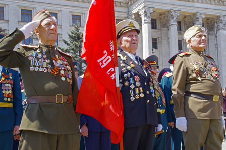 Odessa, Ukraine - May 9  Parade  Celebrating Victory Day in the Second World War 1941-1945  Veterans and soldiers May 9, 2012 in Odessa, Ukraine