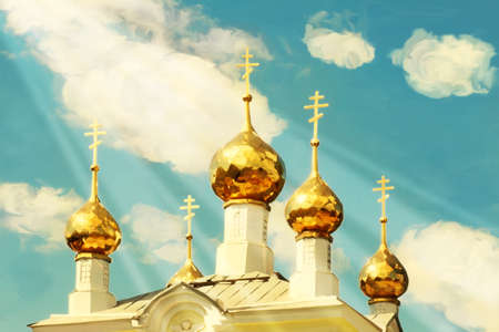 christianity palm sunday: Orthodox church domes against the sky  Stock Photo