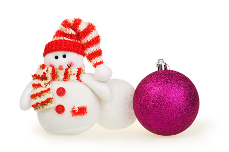 snowballs: Christmas card, toy snowman, snowballs and ball on a white background Stock Photo