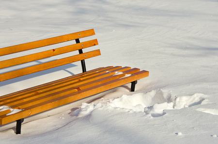 bench in winter park on a background of snow, New Year Christmas Zdjęcie Seryjne