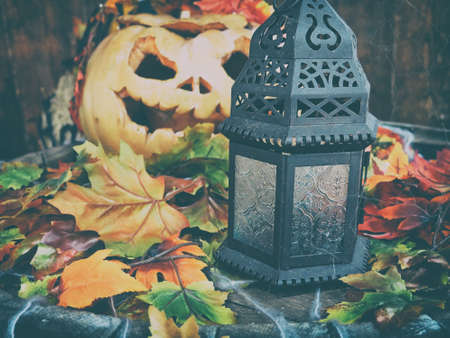 background for the mystical holiday Halloween. Religious beliefs. Jack-o'-lantern pumpkin decorative lantern Zdjęcie Seryjne
