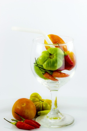 jus: Eat some Vegetables and Fruits can nourish your body Stock Photo