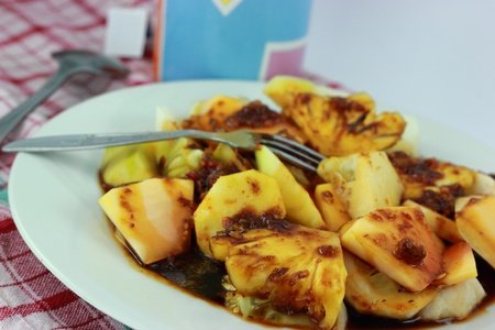 indonesian food: rujak is a traditional Indonesian food is usually made of vegetables and fruits and flavored with peanut sauce
