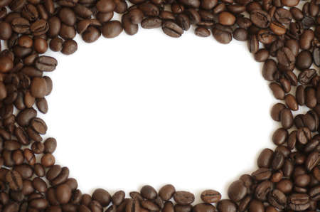 Coffee beans frame isolated on white photo