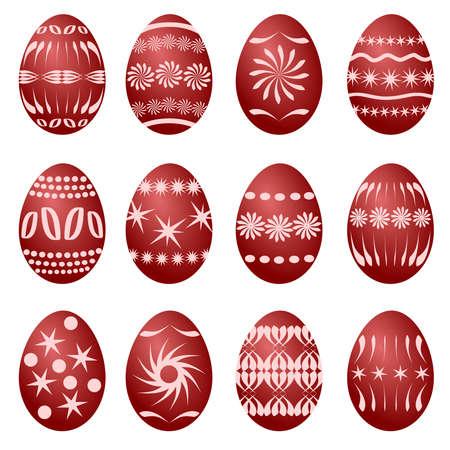 vector eggs: 12 easter eggs (vector)
