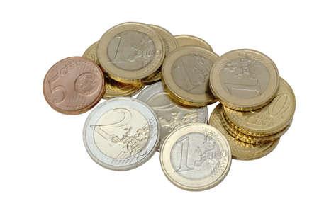 Euro coins isolated on white Stock Photo - 13100669