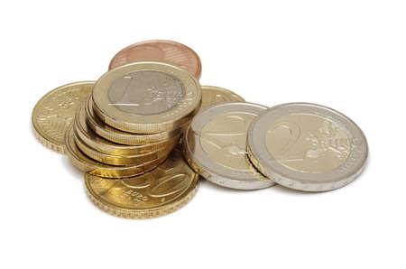 Euro coins isolated on white photo