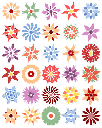 Set of different single flowers Vector