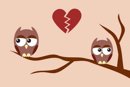 sad love: Owls after an argument Illustration