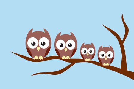 owl family: Owl family sitting on a tree branch Illustration